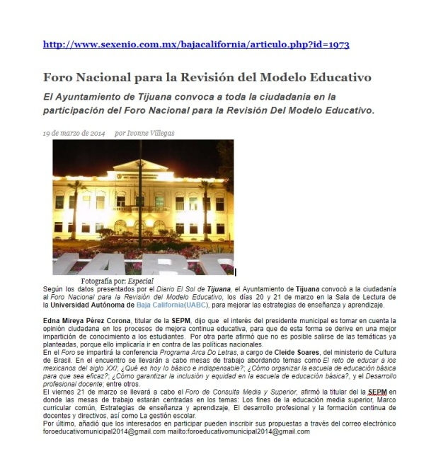 Foro Nacional para la Revisiona del Modelo Educativo - Sexenio Baja California - 19-03-2017
