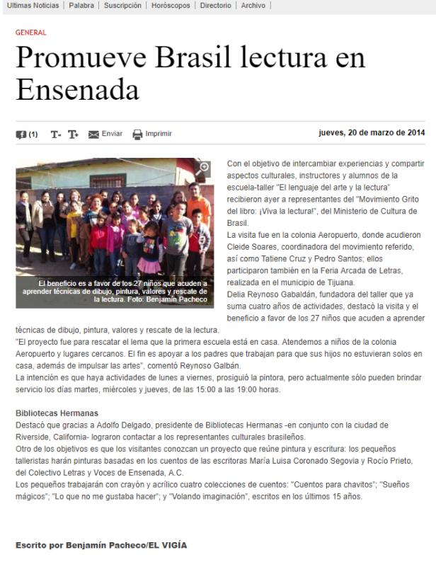 Promueve Brasil lectura en Ensenada - _El Vigía - marzo 2014.png